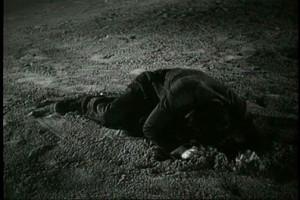 浜辺で号泣する野卑な大道芸人ザンパノ